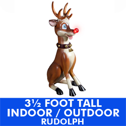 35 Inch Poly Resin Sitting Rudolph