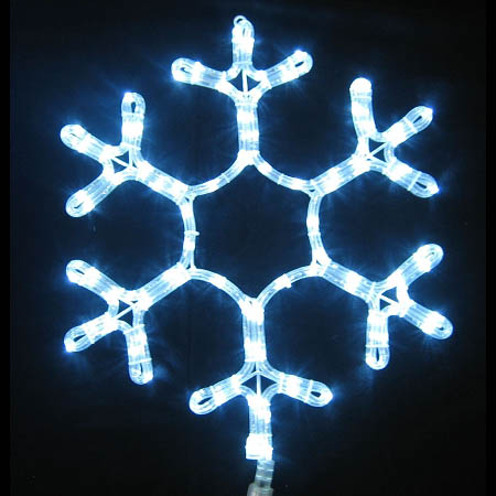 24 Inch Pure White Ropelight Snowflake Decoration