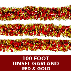 100 Foot Metallic Tinsel Garland Red and Gold