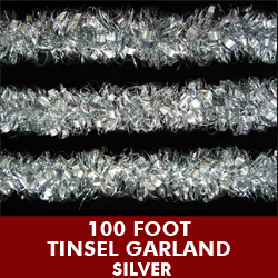 100 Foot Metallic Tinsel Garland Silver