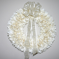 18 Inch White Wedding Fabric Wreath