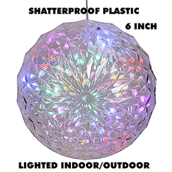 6 Inch Outdoor Crystal Ball 30 Multi LEDs