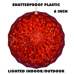 6 Inch Outdoor Crystal Ball 30 Red LEDs