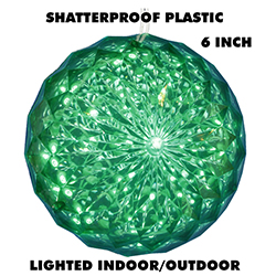 6 Inch Outdoor Crystal Ball 30 Green LEDs