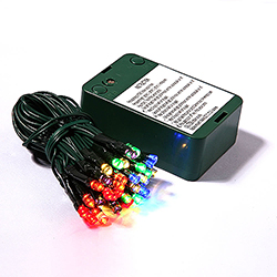 50 Battery Operated LED 5MM Multi Color Christmas Light Set Green Wire 5 Inch Spacing