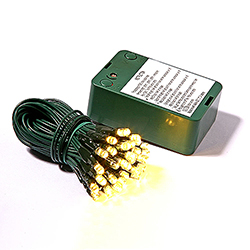 50 Battery Operated LED 5MM Warm White Lights Green Wire 5 Inch Spacing
