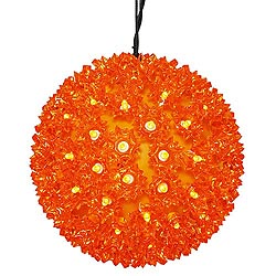 7.5 Inch Lighted Starlight Sphere 100 LED Orange Lights