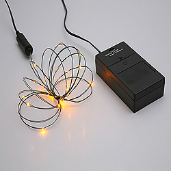 24 Battery Operated LED 5MM Yellow Christmas Lights With Timer 4 Inch Spacing