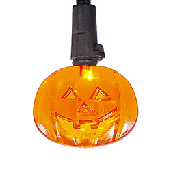 10 Battery Operated Orange LED Pumpkin Lights Black Wire 6 Inch Spacing