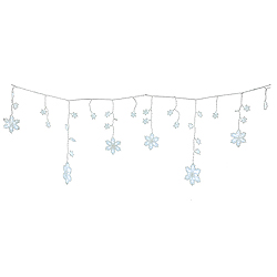 72 LED White Snowflake Icicle Lights