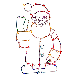 48 Inch LED C7 Waving Santa Wire Frame Motif