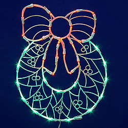 48 Inch LED C7 Wreath With Bow Wire Frame Motif
