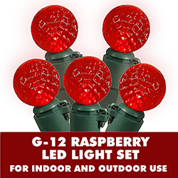 35 G12 LED Globe Red Lights 4 Inch Spacing Green Wire