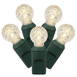 100 Commercial Grade LED G12 Faceted Globe Warm White Christmas Light Set Green Wire