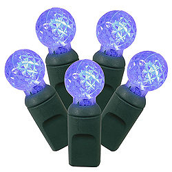 100 Commercial Grade LED G12 Faceted Globe Blue Christmas Light Set Green Wire