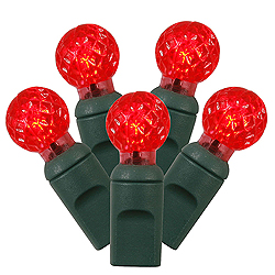 100 Commercial Grade LED G12 Faceted Globe Red Christmas Light Set Green Wire