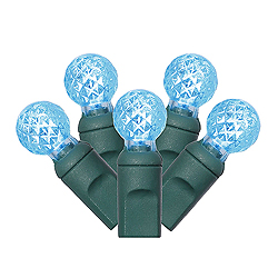 100 Commercial Grade LED G12 Faceted Globe Teal Christmas Light Set Green Wire