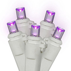 100 Commercial Grade LED 5MM Wide Angle Purple Easter Light Set White Wire