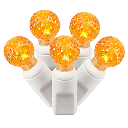 100 Commercial Grade LED G12 Faceted Globe Orange Christmas Light Set White Wire
