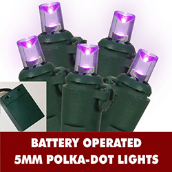 20 LED Battery Operated Extra Long 5MM Purple Lights - Lamp Locks - Green Wire