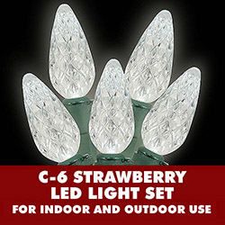 70 Extra Long Pure White LED C6 Strawberry Faceted Christmas Light Set Green Wire