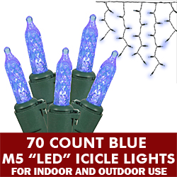 70 Light LED M5 Blue Icicle Set Green Wire