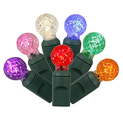 50 Commercial Grade LED G12 Multi Color Christmas Light Set Green Wire