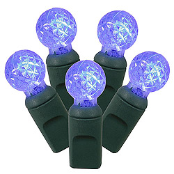 50 Commercial Grade LED G12 Blue Christmas Light Set Green Wire
