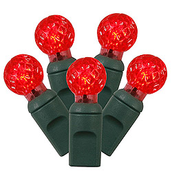 50 Commercial Grade LED G12 Red Christmas Light Set Green Wire