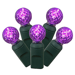 50 Commercial Grade LED G12 Purple Christmas Light Set Green Wire