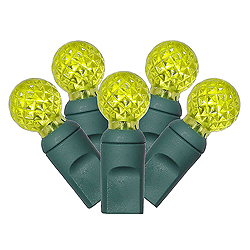 50 Commercial Grade LED G12 Lime Christmas Light Set Green Wire
