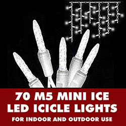 70 Commercial Grade LED M5 Italian Warm White Christmas Icicle Lights 3.5 Inch Spacing White Wire
