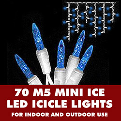 70 Blue LED M5 Mini Ice Christmas Icicle Lights White Wire