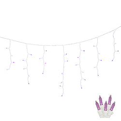 70 LED M5 Purple Icicle Lights White Wire