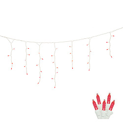 70 LED M5 Twinkle Red Icicle Lights White Wire