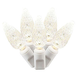 50 Commercial Grade LED C6 Warm White Christmas Light Set White Wire