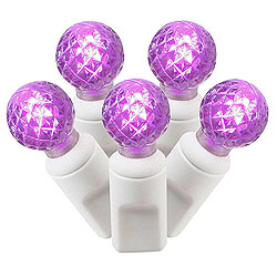 50 Commercial Grade LED G12 Purple Christmas Light Set White Wire