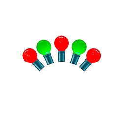 25 LED G30 Red And Green Ceramic Christmas Light Set 8 Inch Spacing Green Wire