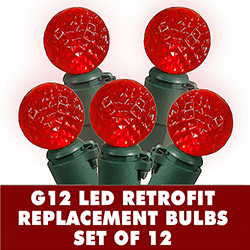 12 Red LED G12 Replacement Christmas Light Bulbs In Green Husks