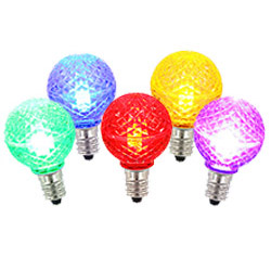 5 LED G50 Globe Multi Color Faceted Retrofit C9 Socket Replacement Bulbs