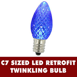 25 LED C7 Blue Twinkle Faceted Night Light Retrofit Replacement Bulbs