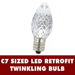25 LED C7 Pure White Twinkle Faceted Night Light Retrofit Replacement Bulbs