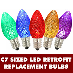 25 LED C7 Multi Color Faceted Retrofit Night Light Replacement Bulbs