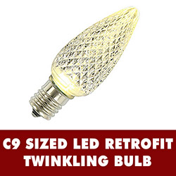 25 LED C9 Warm White Twinkle Faceted Retrofit Replacement Bulbs