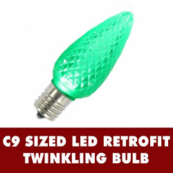 25 LED C9 Green Twinkle Faceted Retrofit Replacement Bulbs