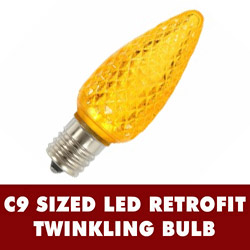 25 LED C9 Gold Twinkle Faceted Retrofit Replacement Bulbs