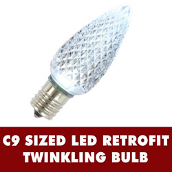 25 LED C9 Pure White Twinkle Faceted Retrofit Replacement Bulbs
