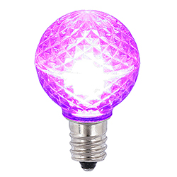 25 LED G30 Globe Purple Faceted Retrofit Night Light C7 Socket Replacement Bulbs