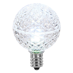 25 LED G40 Globe Cool White Faceted Retrofit Night Light C7 Socket Replacement Bulbs