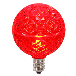 10 LED G50 Globe Red Faceted Retrofit C7 Socket Replacement Bulbs